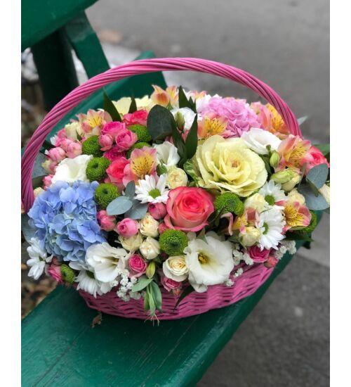 Virágkosár színes