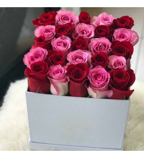 Vörös-Pink rózsadoboz