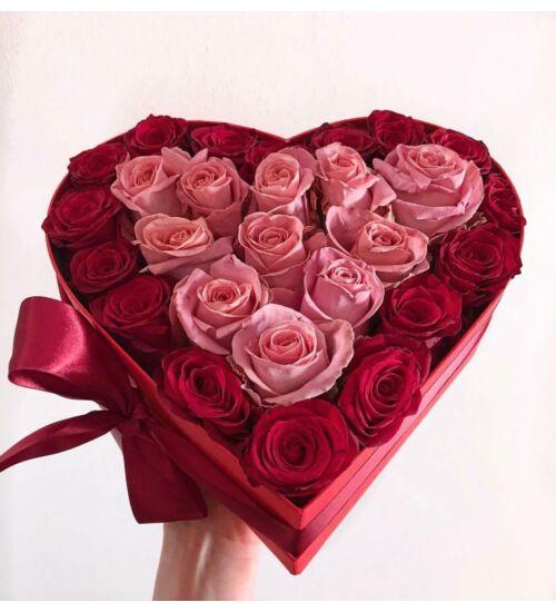 Rózsa szívdoboz