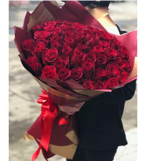 Vörös Rózsacsokor 50 szál