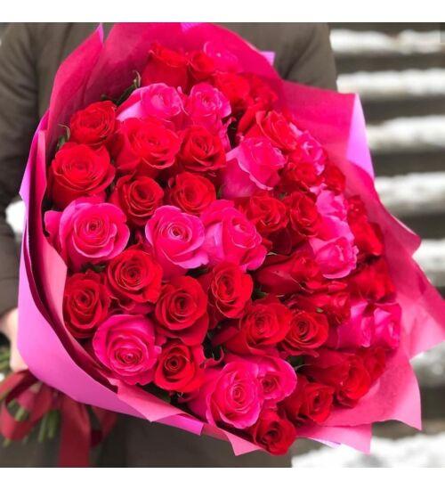 Vörös-Pink Rózsacsokor