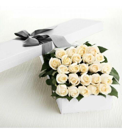 Fehér rózsa díszdobozban